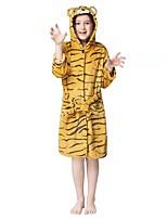 cheap -Kid's Kigurumi Pajamas Tiger Onesie Pajamas Flannel Fabric Yellow Cosplay For Boys and Girls Animal Sleepwear Cartoon Festival / Holiday Costumes / Waist Belt