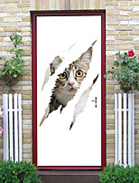 cheap -2pcs Self-adhesive Creative Cowardly Cat Door Stickers Living Room Diy Decorative Home Waterproof Wall Stickers