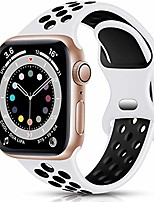 cheap -smartwatch band  sport armband compatible with apple watch armband 42mm 44mm, breathable soft silicone replacement armband compatible with iwatch se series 6 5 4 3 2 1, white / black, see p