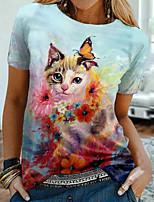 cheap -Women's Floral Theme 3D Cat Painting T shirt Cat 3D Flower Print Round Neck Basic Tops Blue
