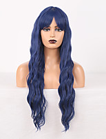 cheap -Cosplay Costume Wig Synthetic Wig Wavy Body Wave Middle Part Wig 24 inch Black / Blue Synthetic Hair Women's Odor Free Fashionable Design Soft Blue