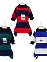 cheap -Dog Cat Dog clothes Stripes Solid Colored Stripes Dailywear Casual / Daily Winter Dog Clothes Puppy Clothes Dog Outfits Warm Red Blue Green Costume for Girl and Boy Dog Padded Fabric S M L XL XXL