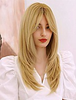 cheap -24 inch natural wave long straight wig synthetic hair with bangs for women layered long wave straight front wigs for girls daily or party