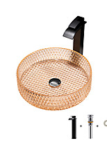 cheap -Bathroom Sink / Bathroom Faucet / Bathroom Mounting Ring Contemporary - Glass Round Vessel Sink