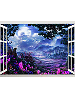 cheap -3D False Window Dreamy Purple Mountain Garden Home Children's Room Background Decoration Can Be Removed Stickers