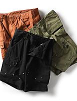 "cheap -Men's Hiking Shorts Hiking Cargo Shorts Military Summer Outdoor 10"" Ripstop Quick Dry Front Zipper Multi Pockets Cotton Knee Length Shorts Bottoms Army Green Orange Black Hunting Climbing Beach 28 29"