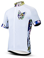cheap -21Grams Men's Short Sleeve Cycling Jersey Summer Spandex Polyester White Dog Bike Jersey Top Mountain Bike MTB Road Bike Cycling Quick Dry Moisture Wicking Breathable Sports Clothing Apparel