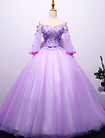 cheap -Ball Gown Elegant Floral Quinceanera Prom Dress Off Shoulder Half Sleeve Floor Length Tulle with Appliques 2021