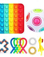 cheap -11 pcs Push Pop Bubble Fidget Toys Sensory Antistress Toy Pack Kawaii Stress Relief Toy Kids Adults Squishy Push Bubble Anti Stress Toy