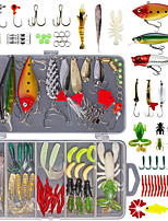 cheap -78 pcs Lure kit Fishing Lures Hard Bait Soft Bait Spoons Minnow Crank Popper Vibration / VIB lifelike 3D Eyes Bass Trout Pike Freshwater and Saltwater