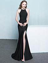 cheap -Mermaid / Trumpet Minimalist Elegant Prom Formal Evening Dress Halter Neck Sleeveless Sweep / Brush Train Stretch Fabric with Sleek 2021