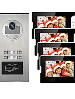 cheap -4 Apartments 7 Multi Apartment Video Door Phone System Video Intercom Doorbell System 700 TVL Camera for 4 Families