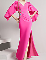 cheap -Mermaid / Trumpet Cut Out Sexy Wedding Guest Formal Evening Dress V Neck Half Sleeve Floor Length Stretch Fabric with Split 2021