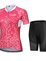 cheap -CAWANFLY Women's Short Sleeve Cycling Padded Shorts Cycling Jersey with Shorts Cycling Shorts Summer Rose Red Bike Shorts Quick Dry Sports Mountain Bike MTB Road Bike Cycling Clothing Apparel