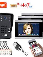 cheap -TUYA Video Intercom WIFI RFID  Fingerprint  Video Door Phone System Home  Intercom with 3 Monitor 7 Inch Support Remote APP Unlocking