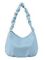 cheap -Women's Bags PU Leather Top Handle Bag Zipper Going out Outdoor 2021 Baguette Bag Black Blue Yellow Blushing Pink