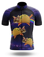cheap -21Grams Men's Short Sleeve Cycling Jersey Summer Spandex Polyester Purple Rainbow Cat Bike Jersey Top Mountain Bike MTB Road Bike Cycling Quick Dry Moisture Wicking Breathable Sports Clothing Apparel