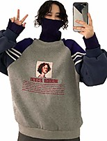 cheap -tasty life hoodies women turtleneck thicker plus velvet warm harajuku printed pullovers women oversize patchwork leisure chic sweatshirts (l, gray)