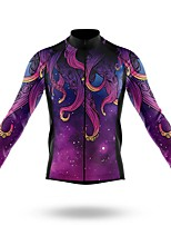 cheap -21Grams Men's Long Sleeve Cycling Jersey Spandex Polyester Purple Bike Jersey Top Mountain Bike MTB Road Bike Cycling Quick Dry Moisture Wicking Breathable Sports Clothing Apparel / Athleisure