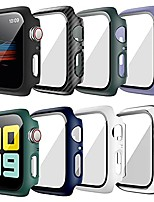 cheap -Smart watch Case(8 pack)hard case for apple watch series 6 44mm with built-in tempered glass screen protector thin bumper full coverage bubble-free cover for iwatch series se/6/5/4 44mm accessories