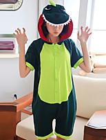 cheap -Teenager Adults' Kigurumi Pajamas Nightwear Dinosaur Onesie Pajamas 100% Cotton Green Cosplay For Men and Women Boys and Girls Animal Sleepwear Cartoon Festival / Holiday Costumes