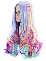 cheap -agptek full long curly wavy rainbow hair wig, heat resistant wig for music festival, theme parties, wedding, concerts, dating, cosplay & more