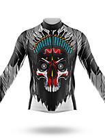 cheap -21Grams Men's Long Sleeve Cycling Jersey Spandex Polyester Black Sugar Skull Skull Bike Jersey Top Mountain Bike MTB Road Bike Cycling Quick Dry Moisture Wicking Breathable Sports Clothing Apparel
