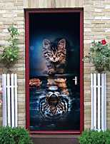 cheap -2pcs Self-adhesive Creative Ferocious Cat Door Stickers For Living Room Diy Decorative Home Waterproof Wall Stickers