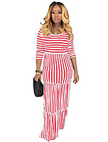 cheap -women's 3/4 sleeve striped high waist t shirt maxi dress lounge sets red l