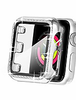 cheap -secbolt 38mm case compatible apple watch band with built-in tempered glass screen protector, all around protective cover frame bumper with bling diamond for iwatch series 3/2/1 (silver-38mm)