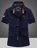 cheap -Men's Hiking Shirt / Button Down Shirts Fishing Shirt Short Sleeve Jacket Top Outdoor Quick Dry Lightweight Breathable Sweat wicking Spring Summer Blue khaki Army Green Hunting Fishing Climbing