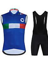 cheap -CAWANFLY Men's Sleeveless Cycling Jersey with Bib Shorts Cycling Jersey with Shorts Cycling Bib Shorts Spandex Blue / Black Bike Sports Geometic Mountain Bike MTB Road Bike Cycling Clothing Apparel