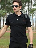 cheap -Men's T shirt Hiking Tee shirt Military Tactical Shirt Short Sleeve Tee Tshirt Top Outdoor Quick Dry Lightweight Breathable Sweat wicking Summer Black Green Camping / Hiking Fishing Climbing