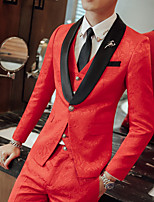 cheap -Men's Wedding Suits Shawl Collar Tailored Fit Single Breasted One-button Straight Flapped Floral / Botanical Polyester