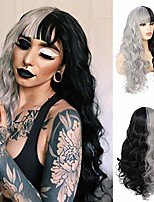 cheap -swiking long curly wavy half black half grey wigs with bangs for women fluffy hair natural heat resistant synthetic wig for halloween party daily cosplay