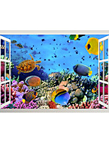 cheap -3D False Window Undersea World Fish Shoes Home Children's Room Background Decoration Can Be Removed Stickers