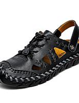 cheap -Men's Sandals Flat Sandals Beach Daily Cowhide Breathable Light Brown Dark Brown Black Spring Summer