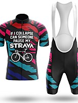 cheap -Men's Short Sleeve Cycling Jersey with Bib Shorts Winter Summer Spandex Black Bike Quick Dry Breathable Sports Graphic Mountain Bike MTB Road Bike Cycling Clothing Apparel / Stretchy / Athletic