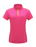cheap -Women's T shirt Hiking Tee shirt Short Sleeve Stand Collar Tee Tshirt Top Outdoor Ultra Light (UL) Quick Dry Lightweight Breathable Spring Summer POLY Stripes Violet Green Rose Red Hunting Fishing