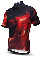 cheap -21Grams Men's Short Sleeve Cycling Jersey Summer Spandex Polyester Black / Red Galaxy Bike Jersey Top Mountain Bike MTB Road Bike Cycling Quick Dry Moisture Wicking Breathable Sports Clothing Apparel