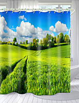 cheap -Purple Green Flower Series Digital Printing Shower Curtain Hook Polyester Modern New Bathroom Shower Curtain Design