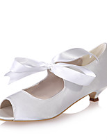 cheap -Women's Wedding Shoes Kitten Heel Peep Toe Satin Ribbon Tie Solid Colored White Red Champagne