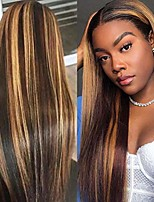 cheap -duofan 26'' women's wigs with elastic bands natural brown color hair wigs gradient long straight hair with hairnet