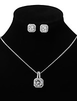 cheap -Women's Hoop Earrings Necklace Geometrical Artistic Simple Fashion Sweet Imitation Diamond Earrings Jewelry Gold / Silver For Party Wedding Street Daily Festival 3pcs