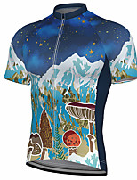 cheap -21Grams Men's Short Sleeve Cycling Jersey Summer Spandex Polyester Blue Stars Bike Jersey Top Mountain Bike MTB Road Bike Cycling Quick Dry Moisture Wicking Breathable Sports Clothing Apparel