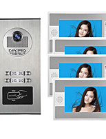 cheap -Wired 7 inch Hands-free 800*480 Pixel Multi-family Video Doorphone with RFID Unlock