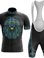 cheap -Men's Short Sleeve Cycling Jersey with Bib Shorts Winter Summer Spandex Black Lion Bike Quick Dry Breathable Sports Lion Mountain Bike MTB Road Bike Cycling Clothing Apparel / Stretchy / Athletic