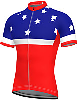 cheap -21Grams Men's Short Sleeve Cycling Jersey Summer Spandex Polyester Red Stars USA Bike Jersey Top Mountain Bike MTB Road Bike Cycling Quick Dry Moisture Wicking Breathable Sports Clothing Apparel