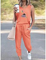 cheap -Women Basic Streetwear Print Cat Vacation Casual / Daily Two Piece Set Tank Top Tracksuit Pant Loungewear Jogger Pants Drawstring Print Tops