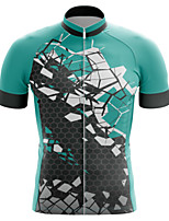 cheap -21Grams Men's Short Sleeve Cycling Jersey Summer Spandex Polyester Green Bike Jersey Top Mountain Bike MTB Road Bike Cycling Quick Dry Moisture Wicking Breathable Sports Clothing Apparel / Athleisure